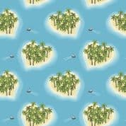 Lewis & Irene Island Girl - 5298 - Tropical Islands on Sky Blue - A190.1 - Cotton Fabric